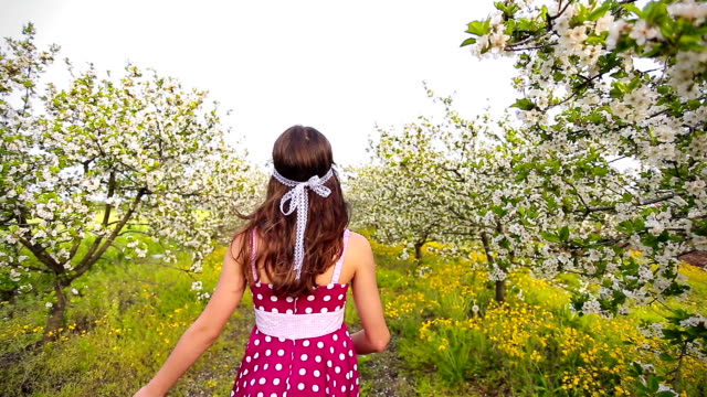 girl with flowers in spring blossom alley - polka dot stock videos and b-roll footage