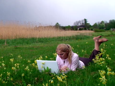 Girl with Laptop on the Grass (PAL)