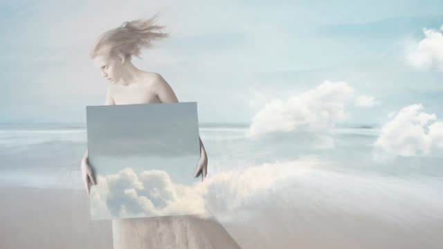 girl with painting of clouds - painted image stock videos & royalty-free footage