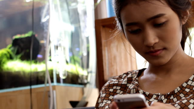 girl with smartphone in the cafe - hot desking stock videos & royalty-free footage