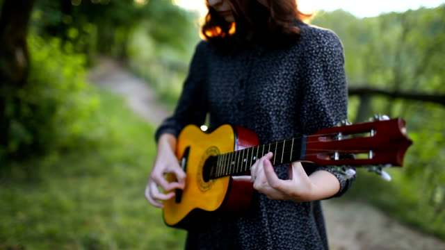 girl with ukulele - country and western stock videos & royalty-free footage