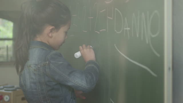 girl writing on blackboard - coat stock videos & royalty-free footage