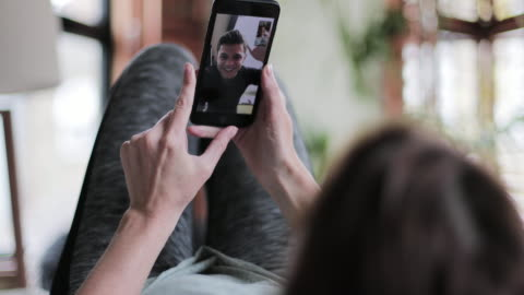 girlfriend on videocall to boyfriend - video call stock videos & royalty-free footage