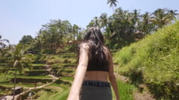 Girlfriend Pulling Boyfriend By Hand to Explore Rice Plantations in Tegalalang Near Bali