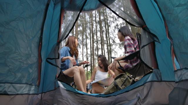 freundinnen reden und campen im pinienwald - zelt stock-videos und b-roll-filmmaterial