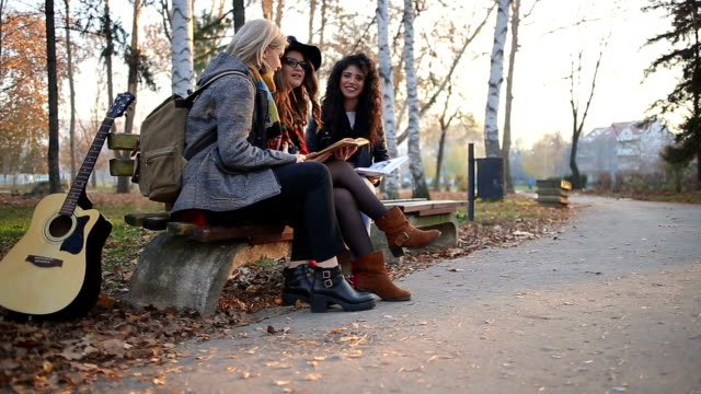 Girlfriends Discussing Book On Park Bench On Sunny Autumn Day
