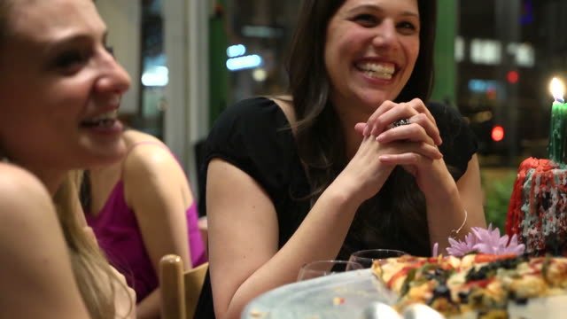 girlfriends laugh together - dining stock videos & royalty-free footage