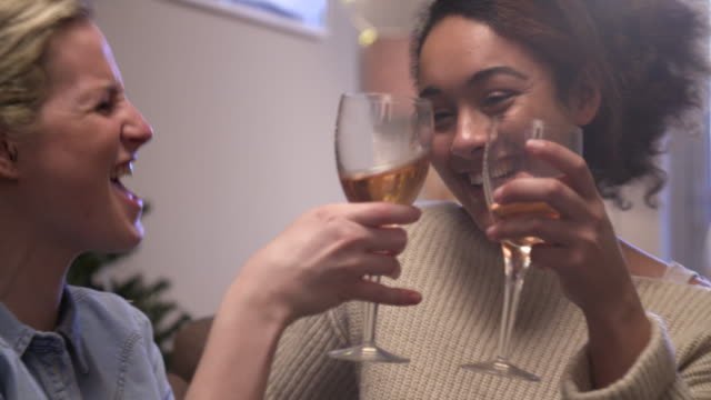 girl-friends making a toast at christmas. - vino video stock e b–roll