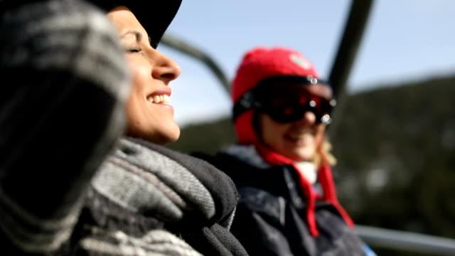 Girlfriends on skilift