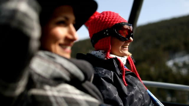 girlfriends on skilift - ski lift stock videos & royalty-free footage