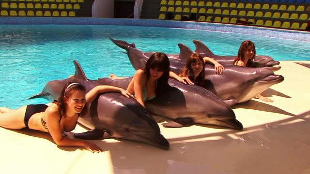 vídeos y material grabado en eventos de stock de niñas y a los delfines - vida marítima