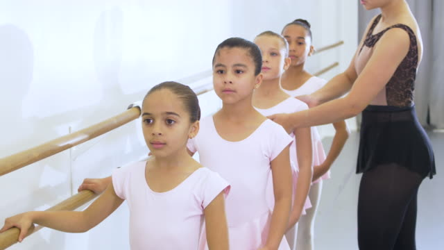 girls and instructor in ballet class, doing plie - 8 9 years stock videos & royalty-free footage