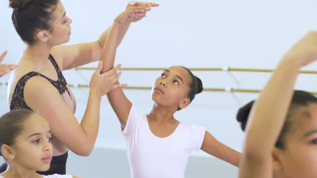 girls and instructor in ballet class - leotard stock videos & royalty-free footage