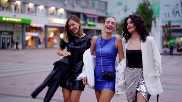 girls are having fun at the town - female friendship stock videos & royalty-free footage