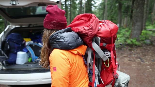 girls camping trip - rucksack stock videos & royalty-free footage