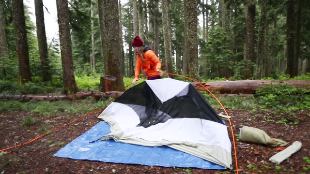 girls camping trip - tenda video stock e b–roll
