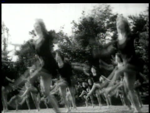 1948 montage girls dancing and jumping in ballet aerobics / united states - aerobics stock videos & royalty-free footage