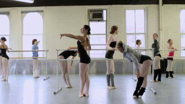 girls doing ballet exercises at barre - body abbigliamento sportivo video stock e b–roll