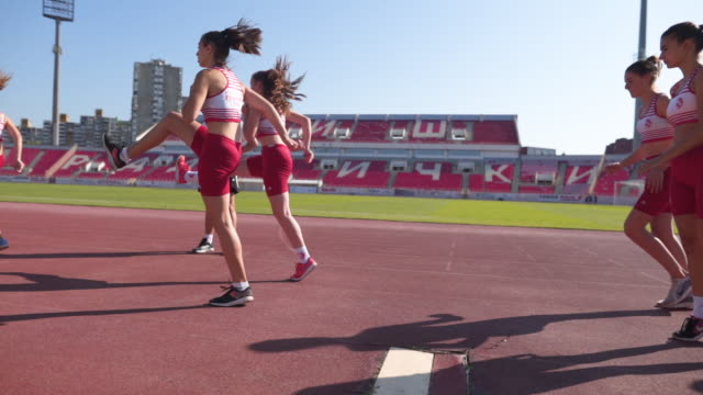 girls doing stride improvement exercises - running track stock videos & royalty-free footage