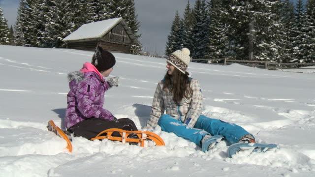 hd dolly: girls enjoying the winter. - pokljuka stock videos and b-roll footage