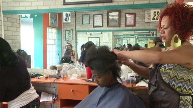 wgn girls getting their hair done on august 24 2013 in chicago illinois - african american ethnicity stock videos & royalty-free footage