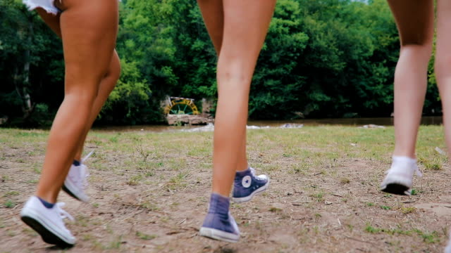 girls have fun - arm in arm stock videos & royalty-free footage