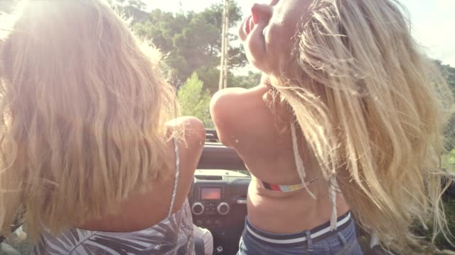 girls having fun in a suv - long stock videos & royalty-free footage