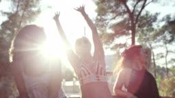 Girls having fun in sunroof.