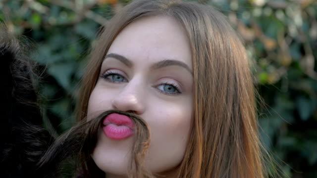 girls having fun - mustache stock videos and b-roll footage