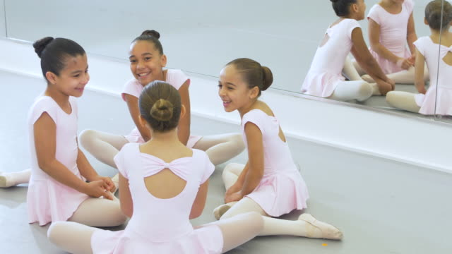 girls in ballet class, conversing - 8 9 years stock videos & royalty-free footage