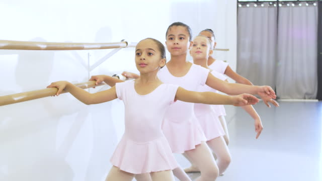 girls in ballet class, doing plies - 8 9 years stock videos & royalty-free footage