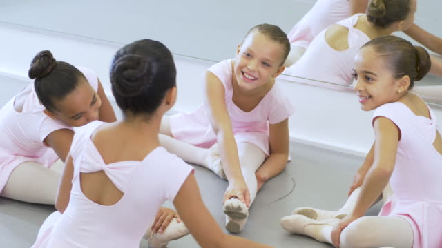 girls in ballet class, stretching - 8 9 years stock videos & royalty-free footage
