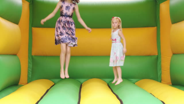girls in bouncy castle - children only stock videos & royalty-free footage