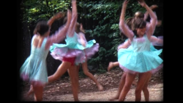 1968 girls in green dresses rehearse dance - only girls stock videos and b-roll footage