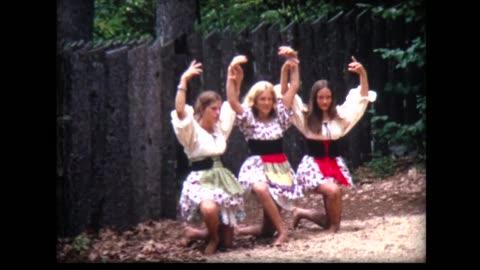 vidéos et rushes de 1968 girls in peasant costumes work on dance routine - représentation artistique