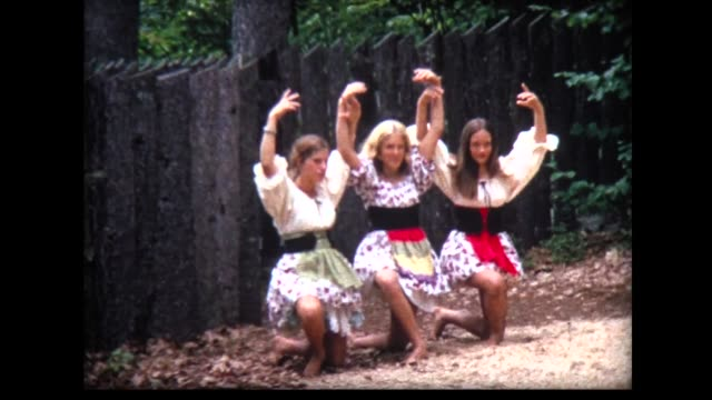 1968 girls in peasant costumes work on dance routine - traditional ceremony stock videos & royalty-free footage