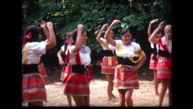 1968 girls in traditional costumes rehearse dance - only girls stock videos and b-roll footage