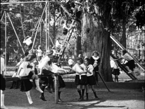 B/W 1922 PAN girls in uniforms at playground / Arroyo Sanitarium, Livermore, California