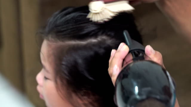 girl's mother to use a hair dryer.