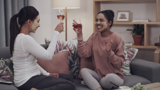 girl's night in just got even better - slumber party stock videos & royalty-free footage