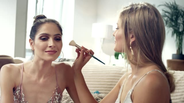 girls night. preparing for a party - female friendship stock videos & royalty-free footage