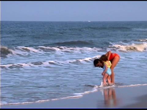 girls on beach - bald head island stock videos & royalty-free footage