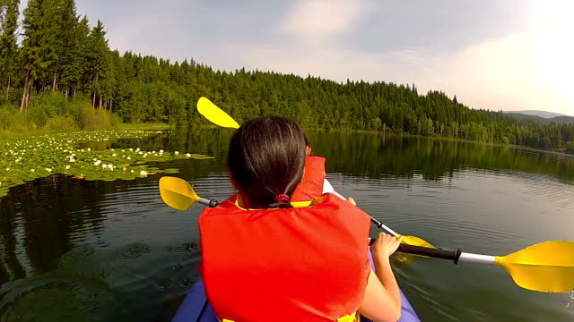 Girls paddling Kayak in lake