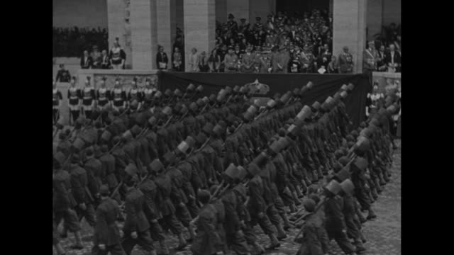 ws girls parade past italian prime minister mussolini german chancellor adolf hitler and italy's king victor emmanuel iii and queen elena during... - marching stock videos and b-roll footage