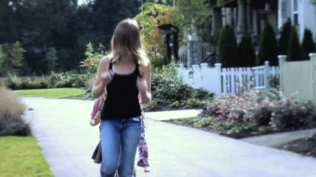 ws girls playing hopscotch on sidewalk / langley, british columbia, canada.  - kelly mason videos stock videos & royalty-free footage