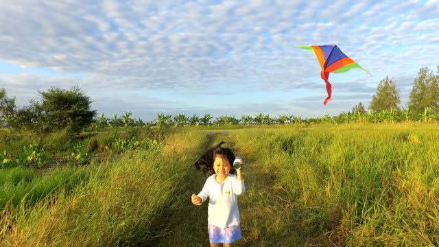 girls playing kite in the middle of the field. - kid with kite stock videos & royalty-free footage