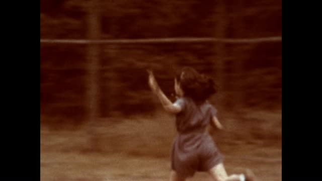 girls playing softball at camp on lake schroon in the adirondacks in the 1940's - summer camp helper stock videos & royalty-free footage