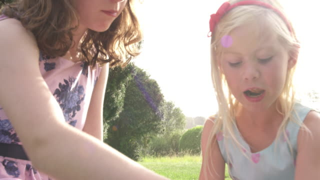 girls playing - floral pattern stock videos & royalty-free footage