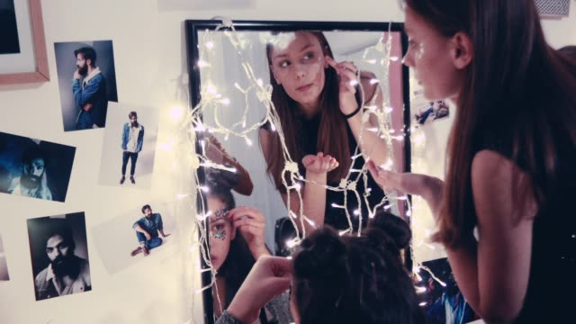 girls putting glitter for the party - make up stock videos & royalty-free footage