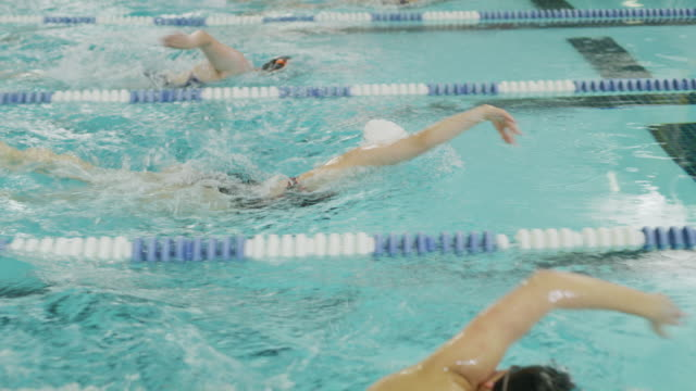 girls racing in swimming pool lanes / provo, utah, united states - sports race stock videos & royalty-free footage